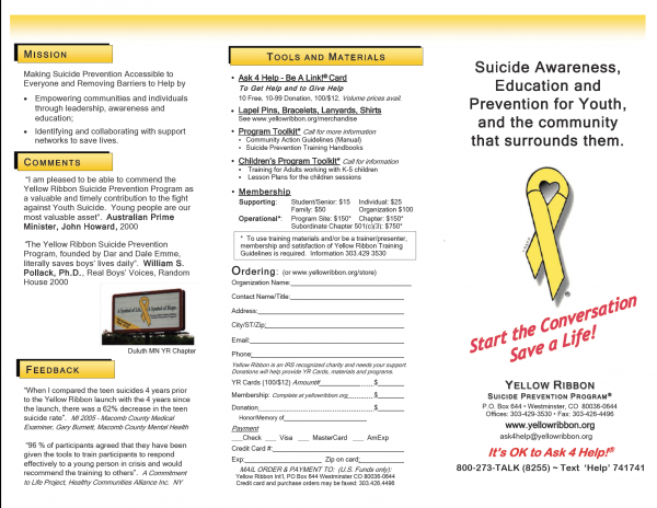 Yellow Ribbon Brochure for Adults